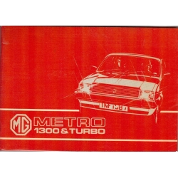Manual de instrucciones MG Metro 1300 & Turbo